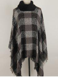 Turtleneck Fringed Asymmetric Pullover Cape Sweater -