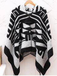 Hooded Asymmetric Geometric Pullover Cape Sweater