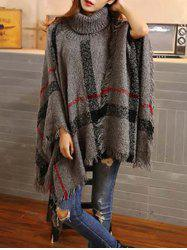 Turtleneck Fringed Asymmetric Cashmere Cape Sweater