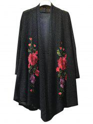 Floral Embroidered Knitted Long Sleeve Kimono Cardigan - BLACK 3XL