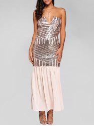 V Neck Strapless Sequin Maxi Evening Dress