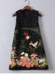 Sleeveless Floral Embroidered Mini Wool Dress -