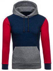 Color Block Splicing Drawstring Hoodie -
