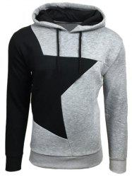 Color Block Star Splicing Hoodie - LIGHT GRAY XL