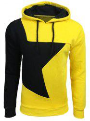 Color Block Star Splicing Yellow Hoodie - YELLOW L