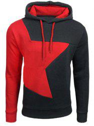Color Block Star Splicing Hoodie - DEEP GRAY