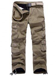 Zipper Fly Plus Size Pockets Flocking Cargo Pants -
