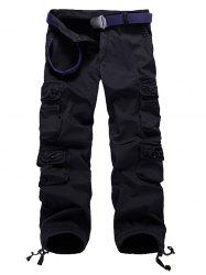 Zipper Fly Plus Size Pockets Flocking Cargo Pants - BLACK 30