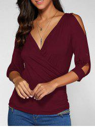 Cold Shoulder Surplice Top