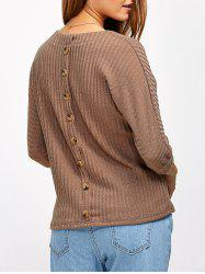 Back Button Ribbed Sweater - KHAKI