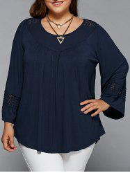 Plus Size Openwork Insert Smock Blouse - PURPLISH BLUE