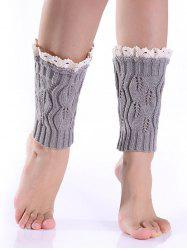 Hollowed Lace Edge Knitted Boot Cuffs - LIGHT GRAY