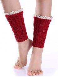 Hollowed Lace Edge Knitted Boot Cuffs
