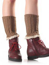 Lace Edge Wheat Knitted Boot Cuffs