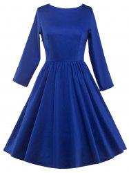 Long Sleeve Fit and Flare Dress - BLUE