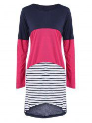 Knee Length Color Block Striped Shift Dress