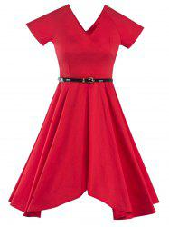 Retro V Neck Asymmetric Dress