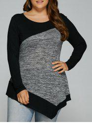 Long Sleeve Plus Size Heather Trim Asymmetrical T-Shirt