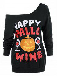 Plus Size Happy Halloween Sweatshirt - BLACK