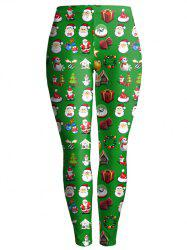 Christmas Gift Print Ankle Leggings - GREEN
