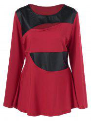Plus Size Faux Leather Patchwork Peplum Pullover - RED WITH BLACK XL