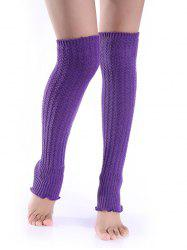 Cable Knit Leg Warmers - PURPLE