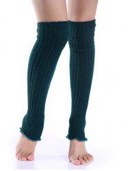 Cable Knit Leg Warmers - BLACKISH GREEN
