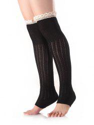 Lace Edge Knitted Leg Warmers - BLACK
