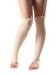 Lace Edge Knitted Leg Warmers - WHITE