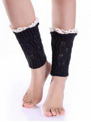 Hollowed Lace Edge Knitted Boot Cuffs - BLACK