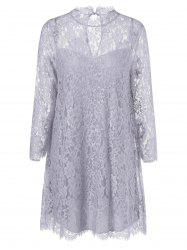 Sheer Lace Tunic Mini Dress - GRAY XL