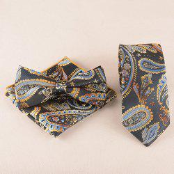 Casual Classic Cashews Pattern Tie Pocket Square Bow Tie