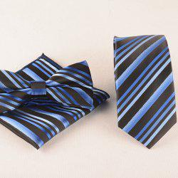 Casual Stripe Print Tie Pocket Square Bow Tie