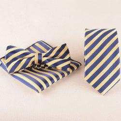 3 PCS Striped Tie Pocket Square Bow Tie - BLUE