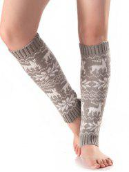 Christmas Warm Fawn Snowflake Knitted Leg Warmers - LIGHT GRAY