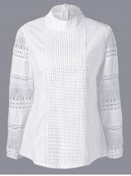 Lace Insert Crochet Plus Size Blouse -