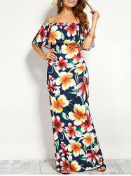 Off Shoulder Flounce Long Floral Dress for Wedding - CERULEAN