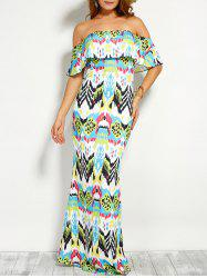 Flounce Off The Shoulder Printed Maxi Dress -