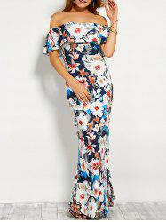 Floral Print Flounce Off The Shoulder Maxi Dress