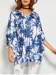 Coconut Tree Butterfly Sleeve Open Back Blouse -