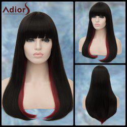 Adiors Long Double Color Full Bang Straight Tail Adduction Lolita Synthetic Wig - RED WITH BLACK