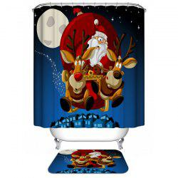 Polyester Waterproof Merry Christmas Cartoon Washroom Curtain - BLUE