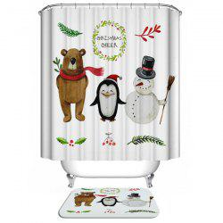 Christmas Bear Polyester Waterproof Washable Bath Curtain - WHITE