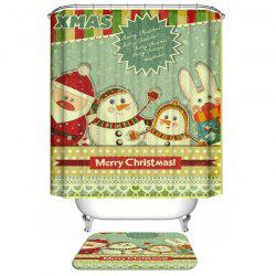 Merry Christmas Polyester Waterproof Cartoon Bathroom Curtain - COLORMIX