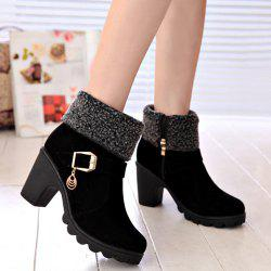 Belt Buckle Chunky Heel Ankle Boots - BLACK