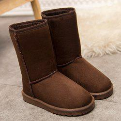 Flat Heel Suede Dark Colour Snow Boots - DEEP BROWN 39