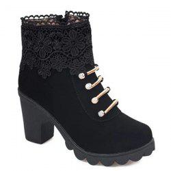 Metal Embroidery Zipper Ankle Boots - BLACK