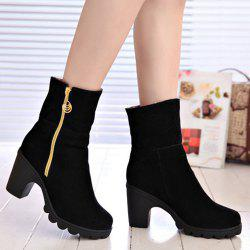 Platform Zipper Flock Short Boots - BLACK