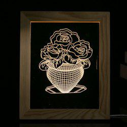 3D Vision USB Flower Vase Wooden Photo Picture Frame Night Light -