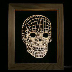 3D Vision USB Skull Wooden Photo Picture Frame Night Light -
